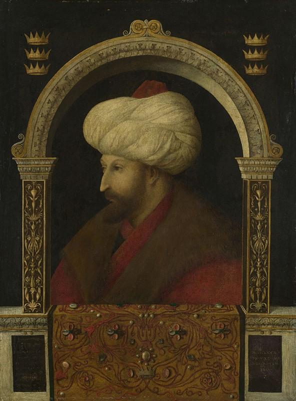 Metin Kutusu: Sultan II. Mehmed, Gentile Bellini, 1480. Tuval üzerine yağlıboya, 69.9 x 52.1 cm. The National Gallery, Londra.