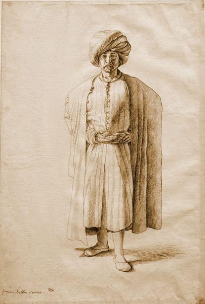 Metin Kutusu: Ayakta duran bir Osmanlı erkeği, Gentile Bellini, 1481. Kağıt üzerine mürekkep, 30 x 20 cm, Louvre Müzesi, Paris.