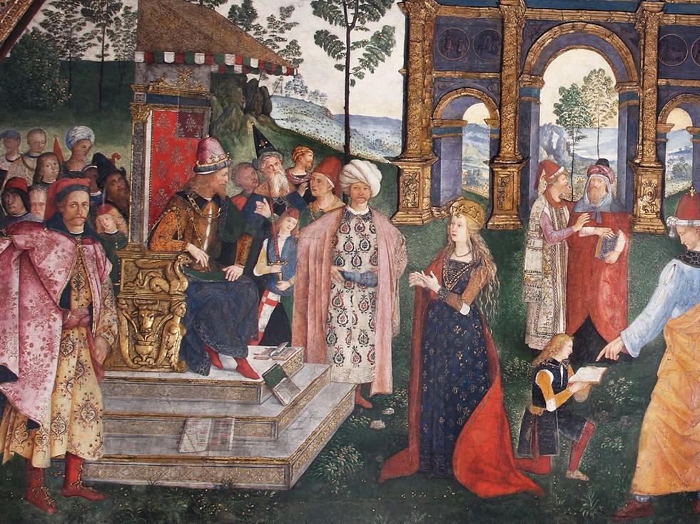 Metin Kutusu: II. PiusFreskleri'nden bir kesit, Pinturicchio, 1503-1508. Duvar üzerine fresk, Siena Katedrali, Piccolomini Kütüphanesi.