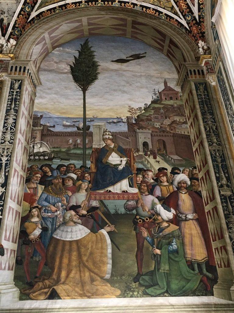 Metin Kutusu: İskenderiyeli Azize Catherine'in Münazarası'ndan bir kesit, Pinturicchio, 1492-1494. Duvar üzerine fresk, Papa'nın Sarayı (Vatikan), AppartamentoBorgia, Sala della Vita dei Santi