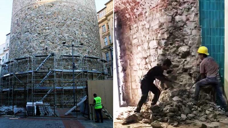 Metin Kutusu: Galata Kulesi'ndeki matkaplı müdahale.