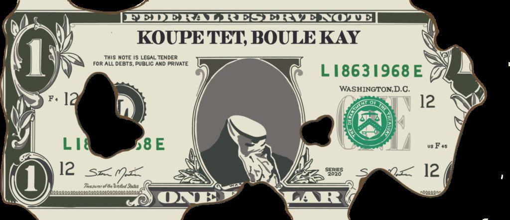 """Metin Kutusu: Steve Montinar'ın dijital çizimi, """"Koupe Tet, Boule Kay"""" (2020)."""