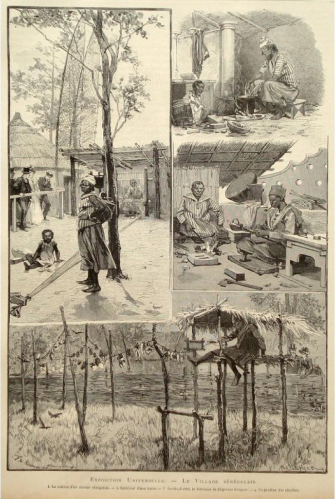 Metin Kutusu: Drawings made of the Senegalese Village in the 1889 Exposition Universelle, Paris.