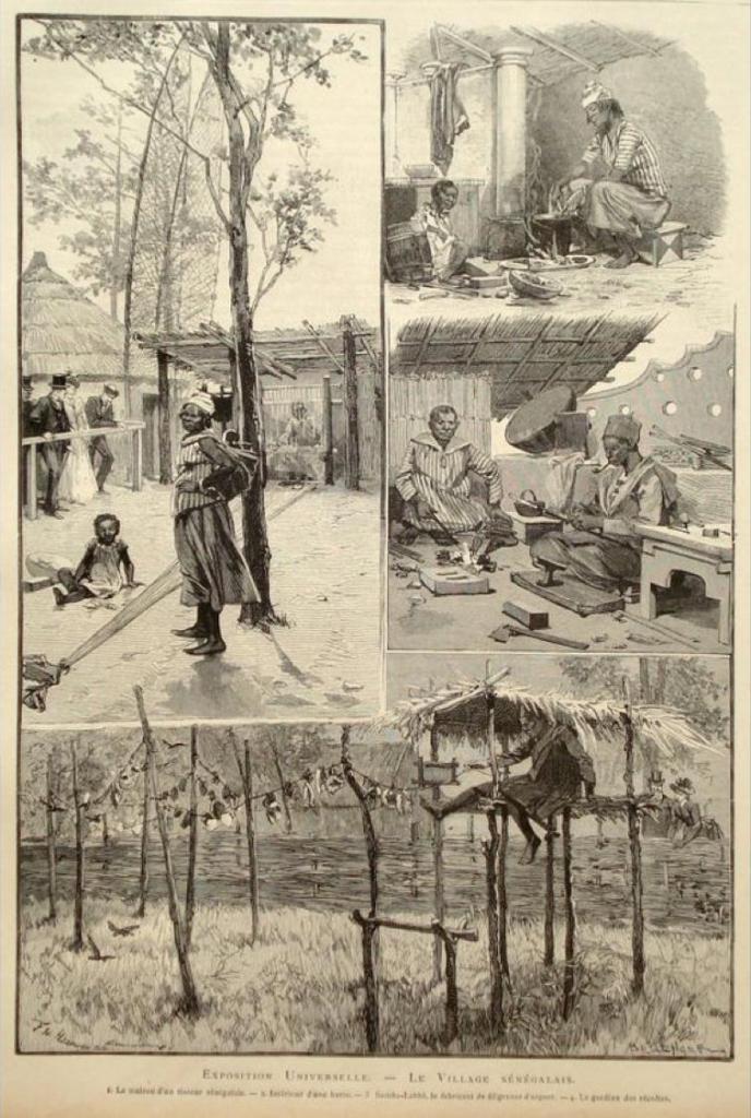 Metin Kutusu: 1889'da Paris'te düzenlenen Exposition Universelle'deki Senegal köyünün çizimleri.