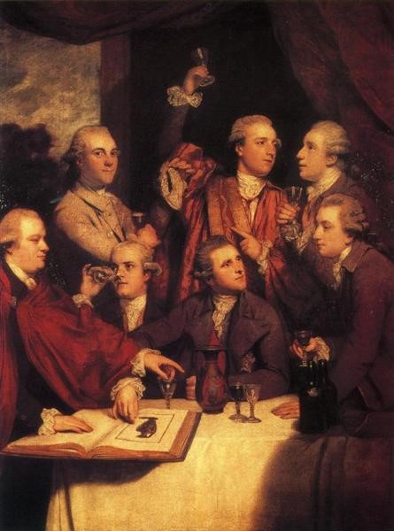 Metin Kutusu: The Dilettanti Society, by Joshua Reynolds, 1777-1778. Oil on canvas, 197 x 142 cm.