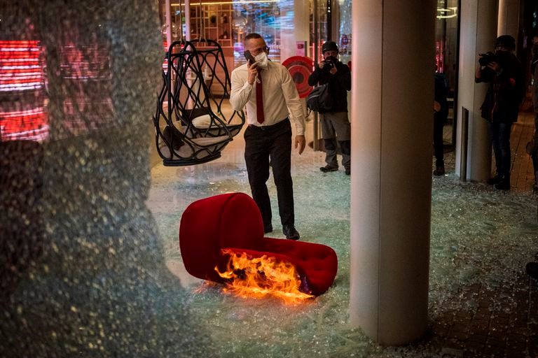 A hotel lobby in Barcelona damaged in Saturday's protest.