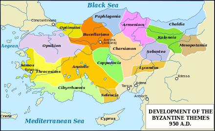 Byzantine themata in Anatolia, c. 950.