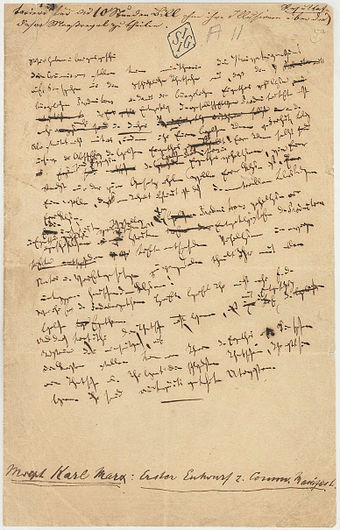 Only surviving page from the first draft of the Manifesto, handwritten by Karl Marx