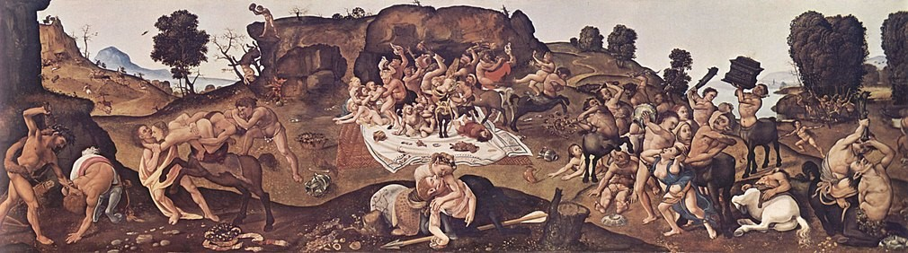 Battle of Centaurs and Lapiths, by Piero di Cosimo (notice the female centaur with a male centaur in the foreground).